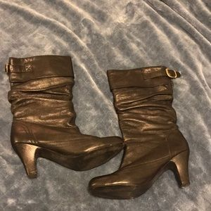 Steve Madden Black Calf Height Leather Boots- 12